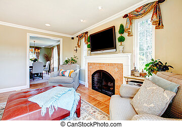Cozy family room with fireplace and tv
