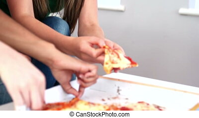 Cute women enjoying pizza sitting on couch in bright living...