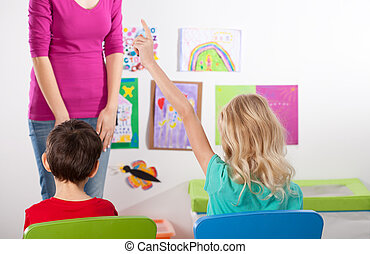 Children in the classroom on art lesson - Little children in...
