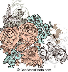 Grunge vector background with roses - Floral invitation...