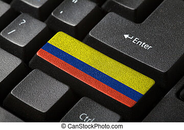 The Colombian flag button on the keyboard. close-up