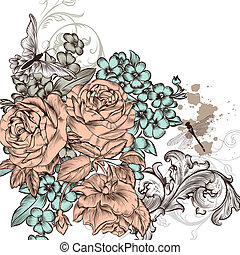 Grunge vector background with roses flowers for design -...
