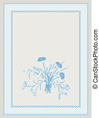 Blue Background with Field Flowers - Blue background with...