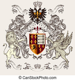 Beautiful heraldic design with shield, crown, griffin and...