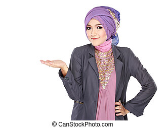 young moslem woman presenting - Portrait of beautiful young...