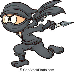 Running ninja - Cartoon ninja running Vector clip art...