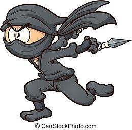Running ninja - Cartoon ninja running. Vector clip art...