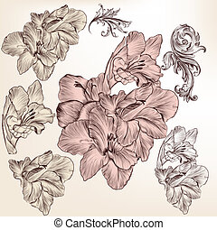 Collection of vector detailed hand drawn flowers for design...