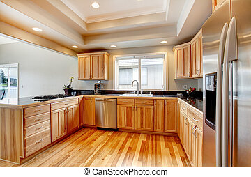 Bright wood kitchen with coffered ceiling - Woode kitchen...