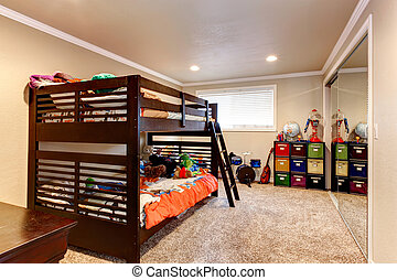 Charming young adult room with two level bed