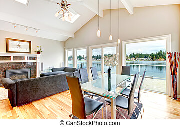 Impressive dining and living room combination - Cathedral...