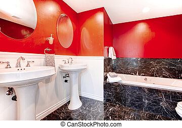 Impressive black and red bathroom - Black and red bathroom...