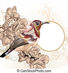 Grunge vector background with hand drawn bird in vintage...