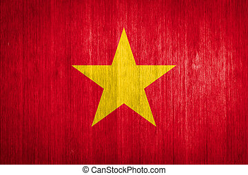 Vietnam Flag on wood background