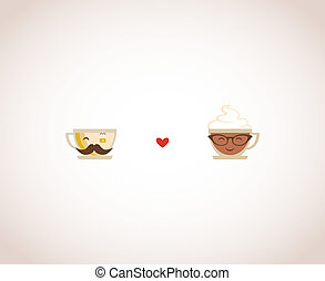 hypster coffee and tea cups. Happy Valentines