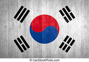 South Korea Flag on wood background
