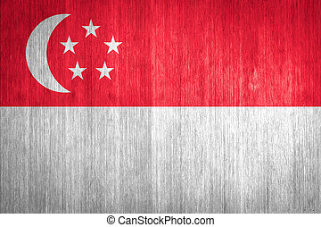 Singapore Flag on wood background