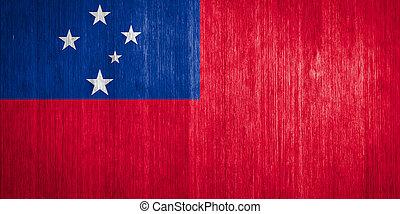 bandiera, legno,  Samoa, fondo