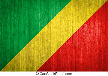 Republic of the Congo Flag on wood background