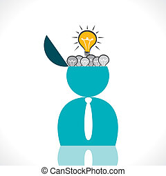 men with new idea concept vector - men head with full of...