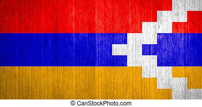 Nagorno-Karabakh, repubblica, bandiera, legno, fondo