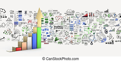 business graph 3d and hand drawn business strategy as...