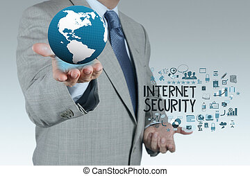 businessman hand showing the earth with  Internet security online business as concept