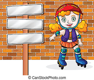 A girl rollerskating beside the empty signages -...