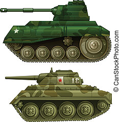 Two armoured tanks - Illustration of the two armoured tanks...