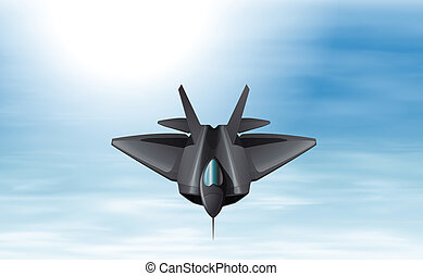 A gray fighter jet in the sky - Illustration of a gray...