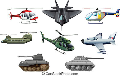 Different war transportations - Illustration of the...