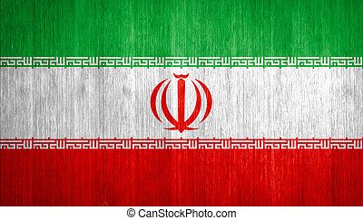 Iran Flag on wood background