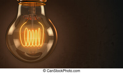Close up of an illuminated vintage hanging light bulb over...