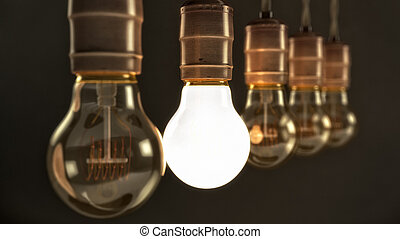 Vintage Incandescent Light Bulbs with one Illuminated - Five...