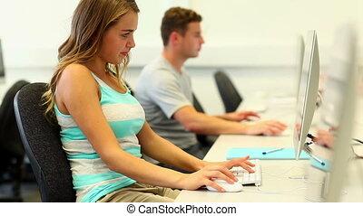 Focused students working on computer - Focused students...