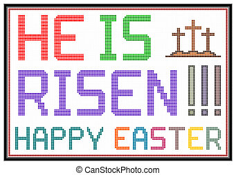 Happy Easter message on vintage LCD screen. Isolated on...