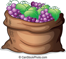 A sack of grapes - Illustration of a sack of grapes on a...