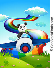 A plane with a panda near the rainbow - Illustration of a...