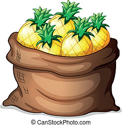A sack of pineapples - Illustration of a sack of pineapples...