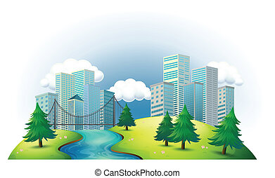 Tall buildings in an island with a river and pine trees -...