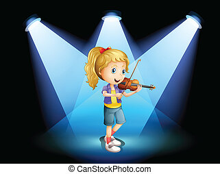 A stage with a young girl playing with her violin -...