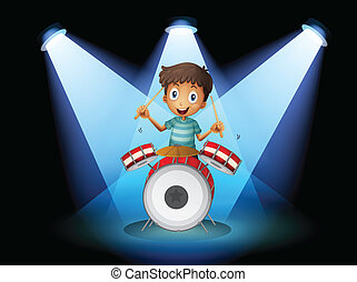 A young drummer in the middle of the stage - Illustration of...