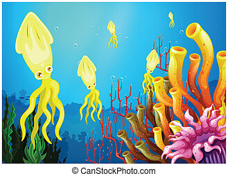 Yellow squids near the coral reefs - Illustration of the...