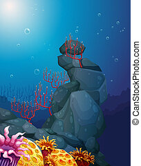 A view of the underworld with rocks and coral reefs -...