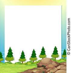 An empty paper template with pine trees and rocks at the bottom