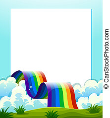 An empty paper template with a rainbow at the bottom -...