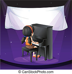 An empty banner near the girl playing with the piano