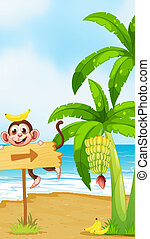 Illustration of a monkey with a banana above the head playing near the arrowboard