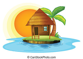 An island with a small hut - Illustration of an island with...