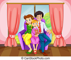 A family at the living room - Illustration of a family at...